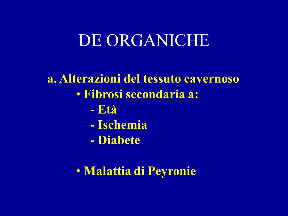 DE ORGANICHE a. Alterazioni del tessuto cavernoso