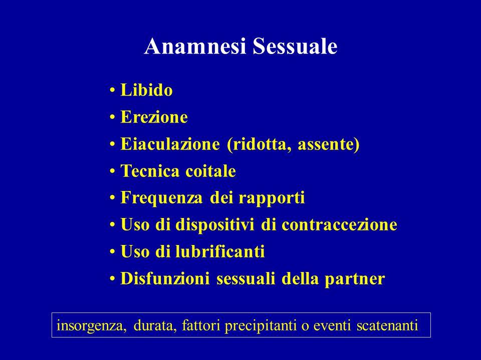 Anamnesi Sessuale Libido Erezione Eiaculazione (ridotta, assente)
