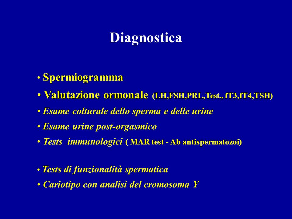Diagnostica Valutazione ormonale (LH,FSH,PRL,Test., fT3,fT4,TSH)