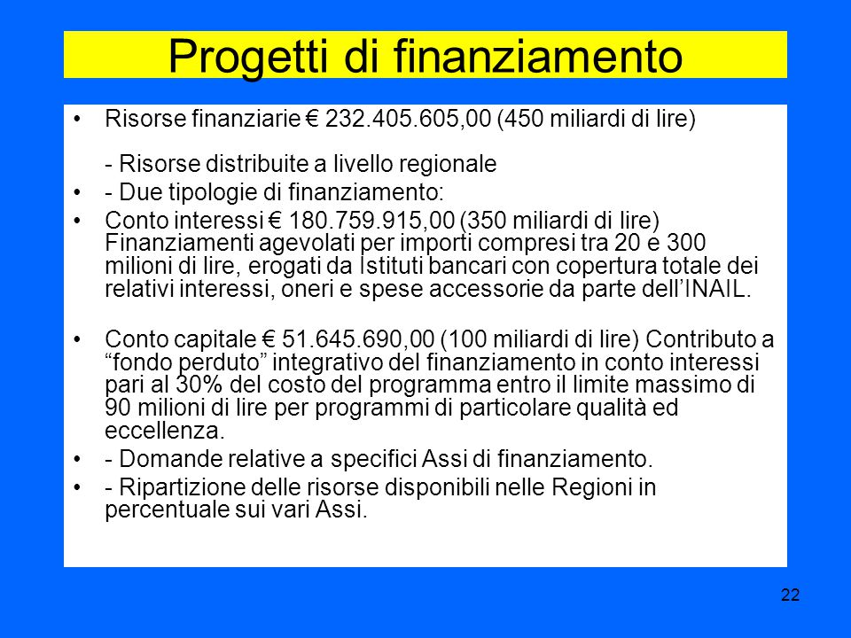 Progetti di finanziamento