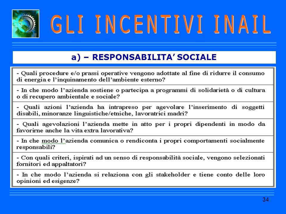 a) – RESPONSABILITA' SOCIALE