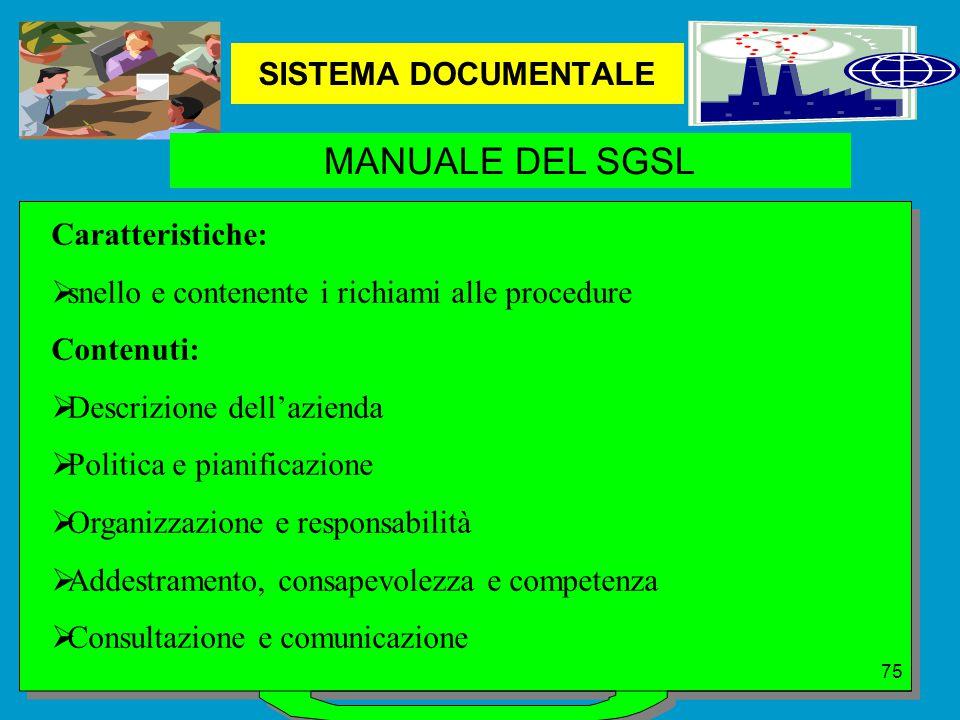 MANUALE DEL SGSL SISTEMA DOCUMENTALE Caratteristiche: