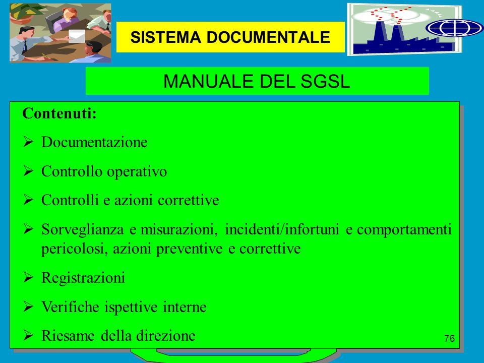 MANUALE DEL SGSL SISTEMA DOCUMENTALE Contenuti: Documentazione