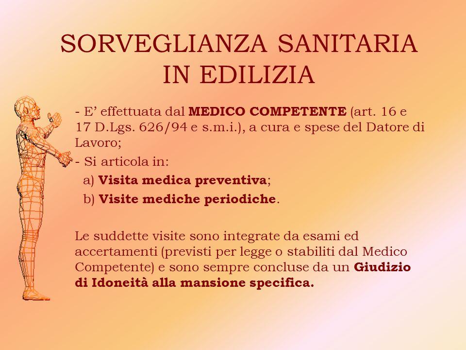 SORVEGLIANZA SANITARIA IN EDILIZIA