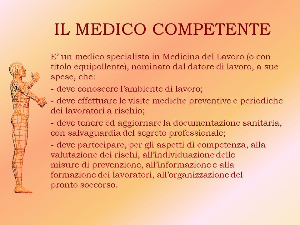 IL MEDICO COMPETENTE E' un medico specialista in Medicina del Lavoro (o con titolo equipollente), nominato dal datore di lavoro, a sue spese, che: