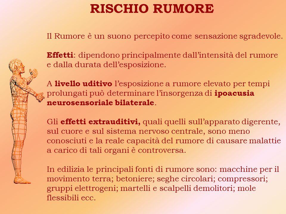 RISCHIO RUMORE Il Rumore è un suono percepito come sensazione sgradevole.