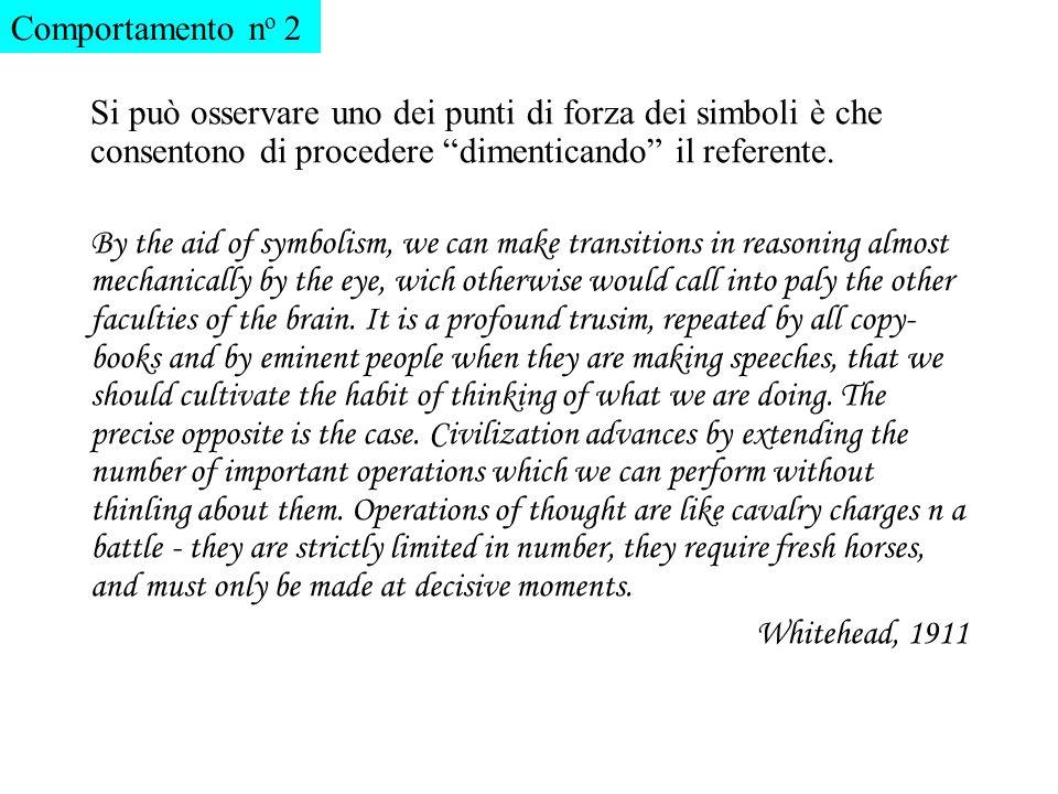 Comportamento no 2 Si può osservare uno dei punti di forza dei simboli è che consentono di procedere dimenticando il referente.