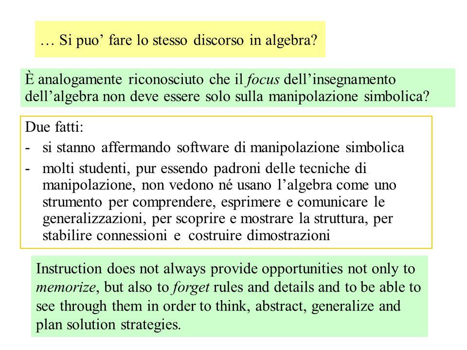 … Si puo' fare lo stesso discorso in algebra