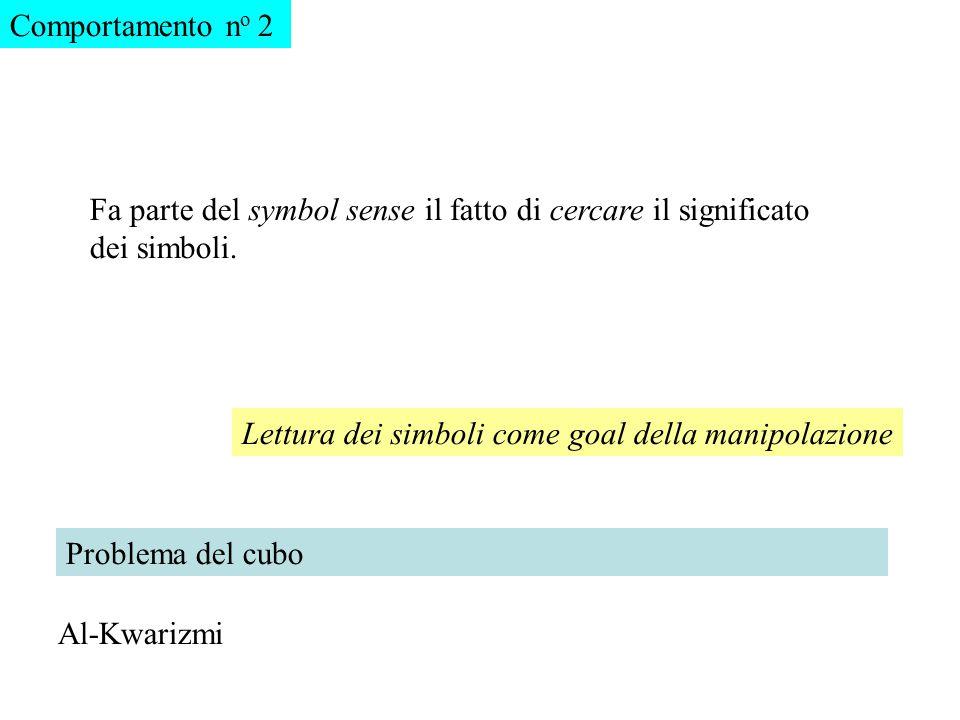 Comportamento no 2 Fa parte del symbol sense il fatto di cercare il significato dei simboli. Lettura dei simboli come goal della manipolazione.