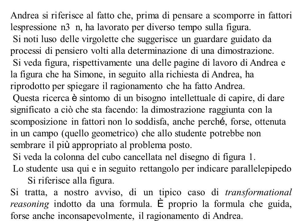 Andrea si riferisce al fatto che, prima di pensare a scomporre in fattori lespressione n3 n, ha lavorato per diverso tempo sulla figura.