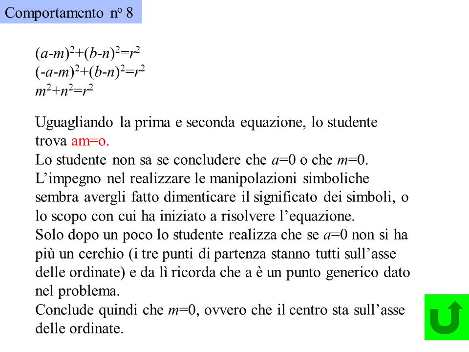 Comportamento no 8 (a-m)2+(b-n)2=r2. (-a-m)2+(b-n)2=r2. m2+n2=r2. Uguagliando la prima e seconda equazione, lo studente trova am=o.