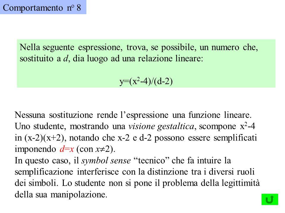 Comportamento no 8 Nella seguente espressione, trova, se possibile, un numero che, sostituito a d, dia luogo ad una relazione lineare: