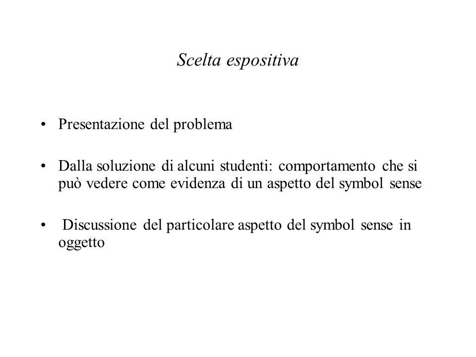 Scelta espositiva Presentazione del problema