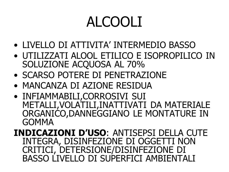 ALCOOLI LIVELLO DI ATTIVITA' INTERMEDIO BASSO
