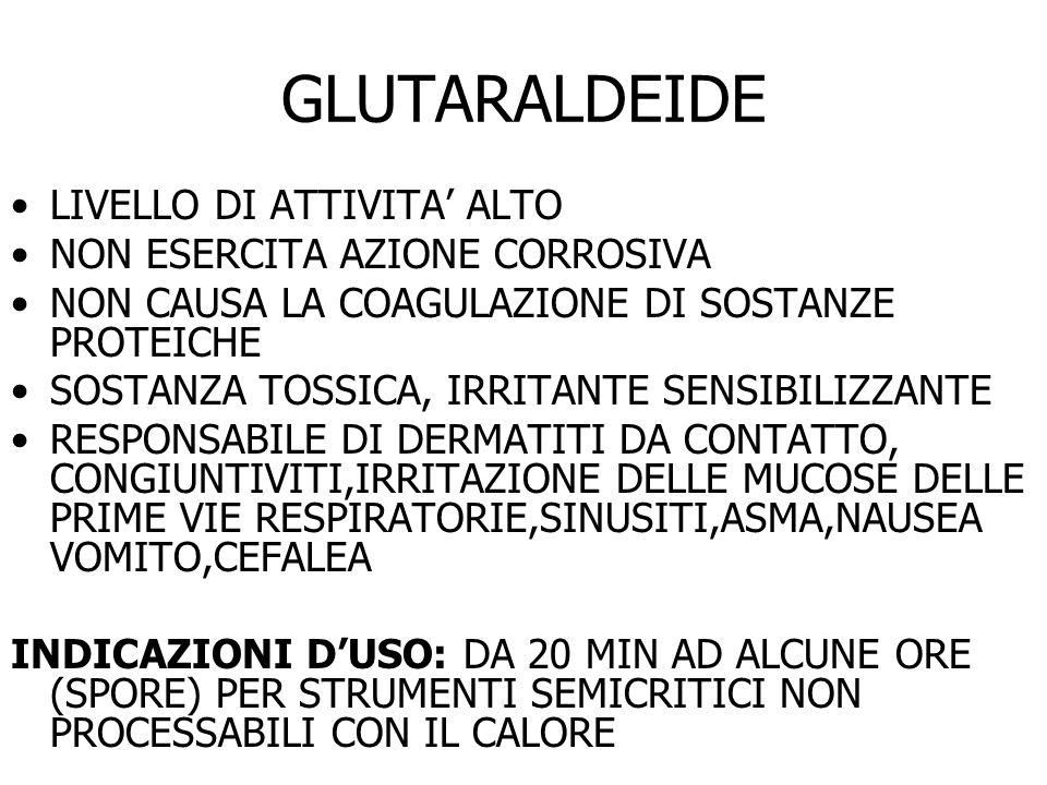 GLUTARALDEIDE LIVELLO DI ATTIVITA' ALTO NON ESERCITA AZIONE CORROSIVA