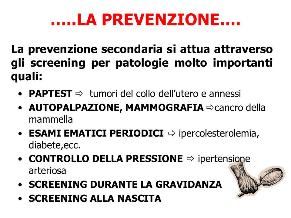 …..LA PREVENZIONE…. La prevenzione secondaria si attua attraverso gli screening per patologie molto importanti quali:
