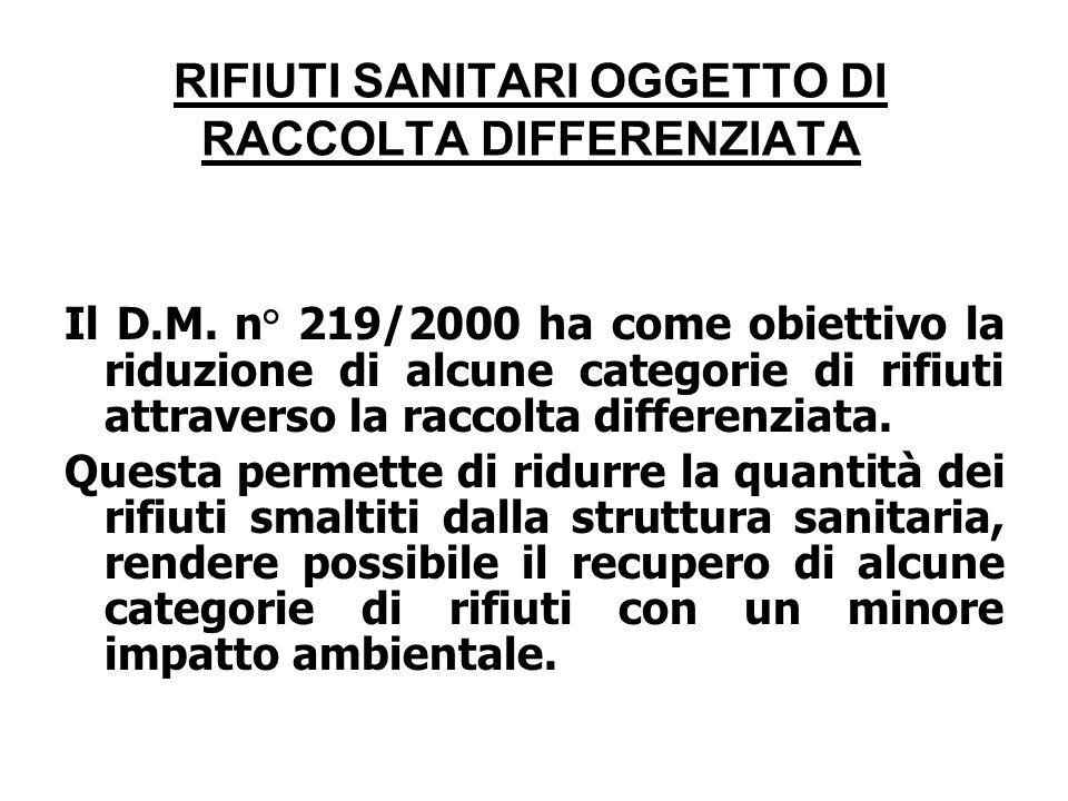 RIFIUTI SANITARI OGGETTO DI RACCOLTA DIFFERENZIATA