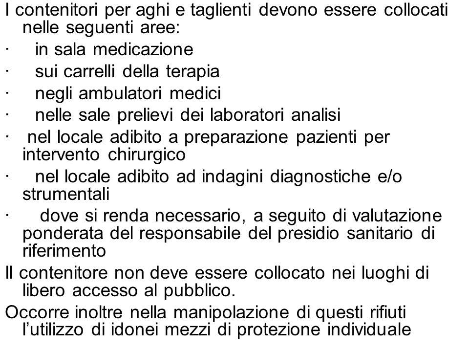 I contenitori per aghi e taglienti devono essere collocati nelle seguenti aree: