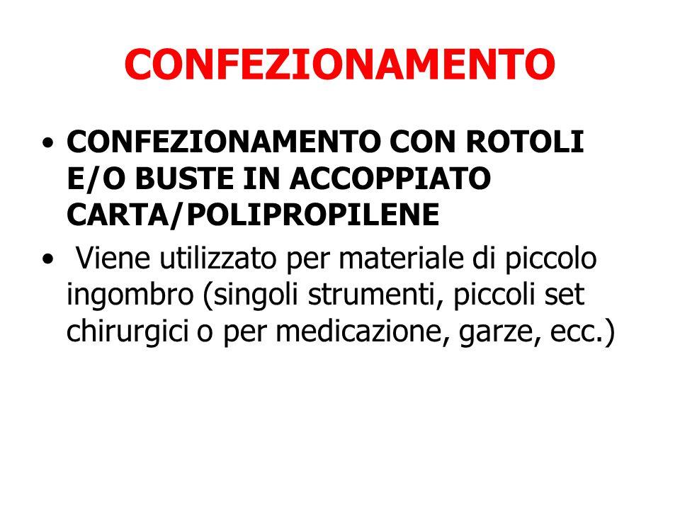 CONFEZIONAMENTO CONFEZIONAMENTO CON ROTOLI E/O BUSTE IN ACCOPPIATO CARTA/POLIPROPILENE.