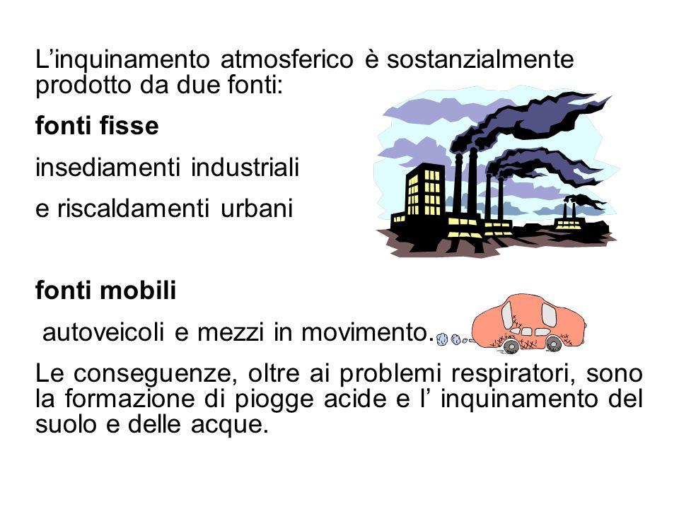 L'inquinamento atmosferico è sostanzialmente prodotto da due fonti: