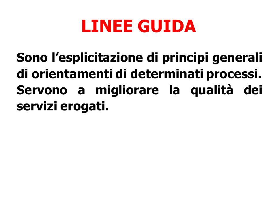 LINEE GUIDA Sono l'esplicitazione di principi generali di orientamenti di determinati processi.