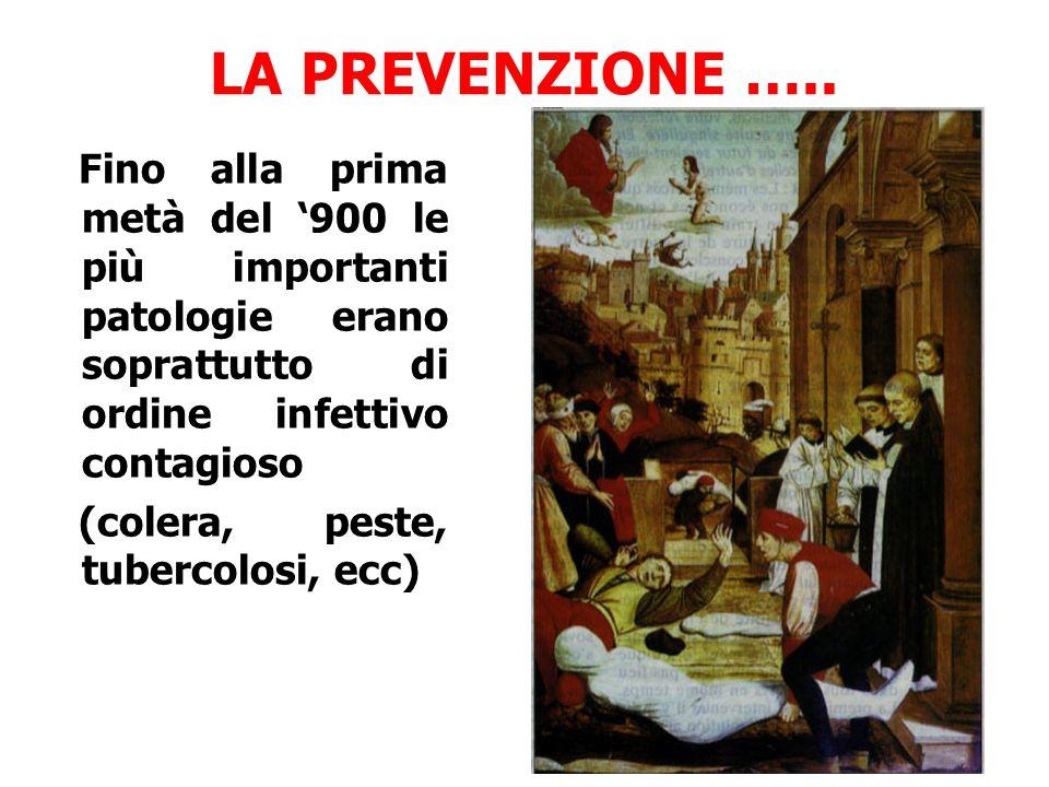LA PREVENZIONE ….. Fino alla prima metà del '900 le più importanti patologie erano soprattutto di ordine infettivo contagioso.
