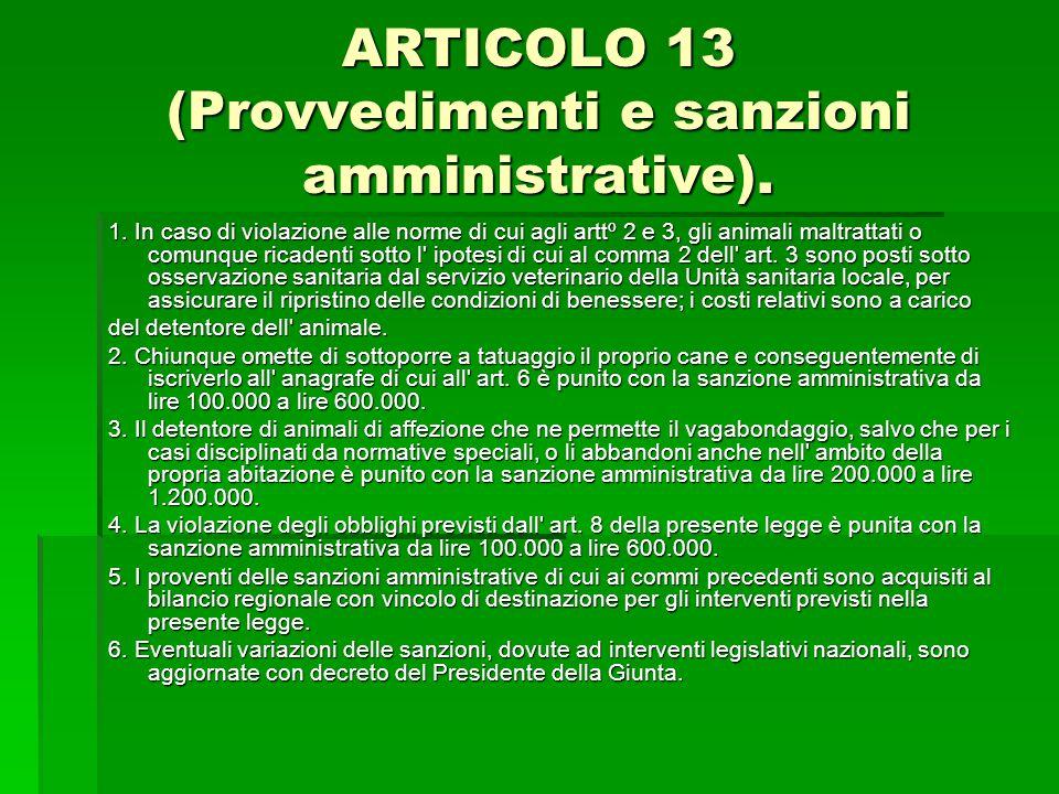 ARTICOLO 13 (Provvedimenti e sanzioni amministrative).