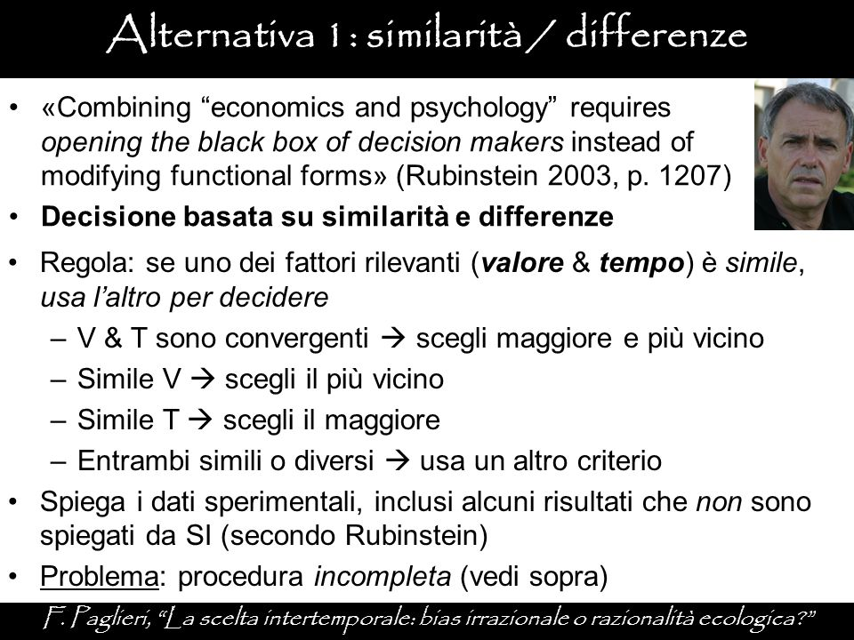 Alternativa 1: similarità / differenze