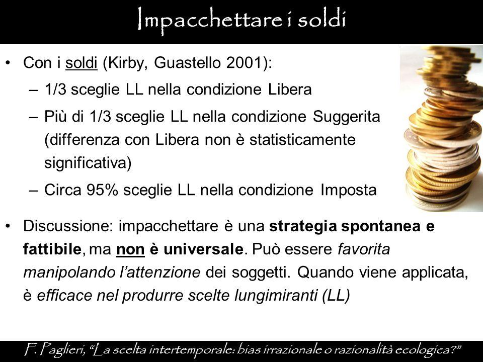 Impacchettare i soldi Con i soldi (Kirby, Guastello 2001):
