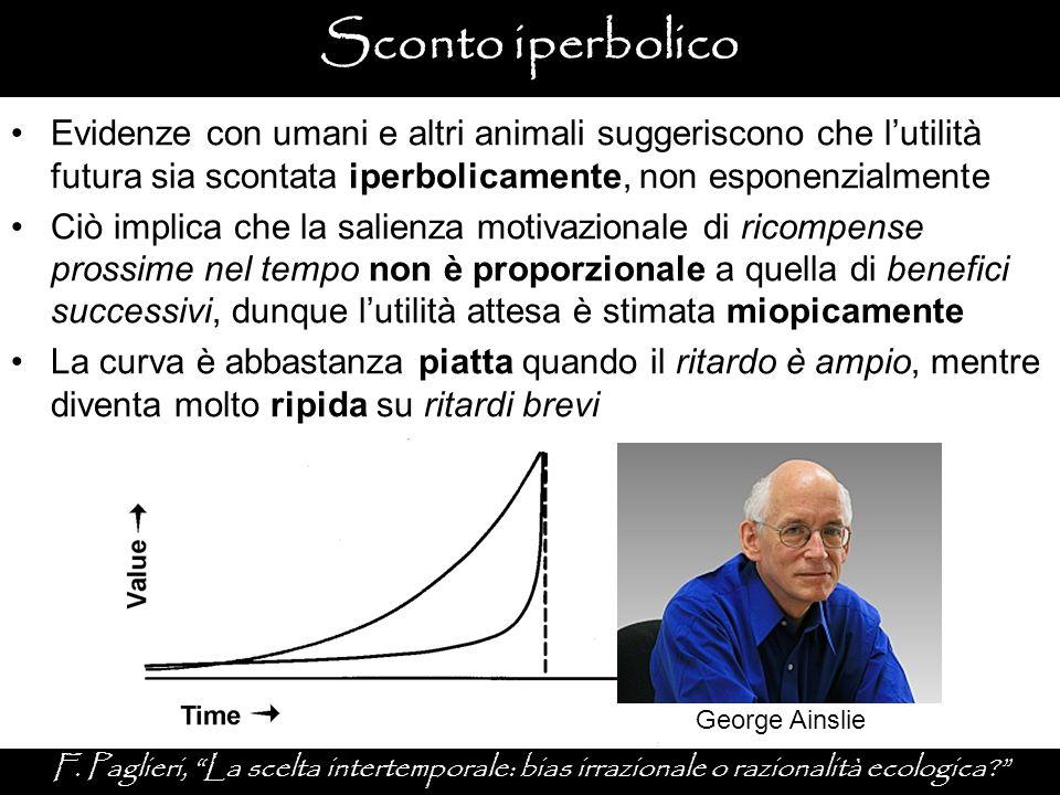 Sconto iperbolico Evidenze con umani e altri animali suggeriscono che l'utilità futura sia scontata iperbolicamente, non esponenzialmente.