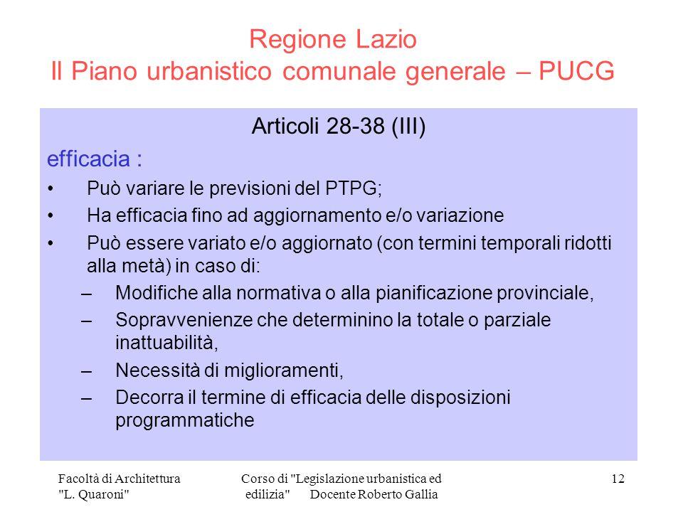 Regione Lazio Il Piano urbanistico comunale generale – PUCG