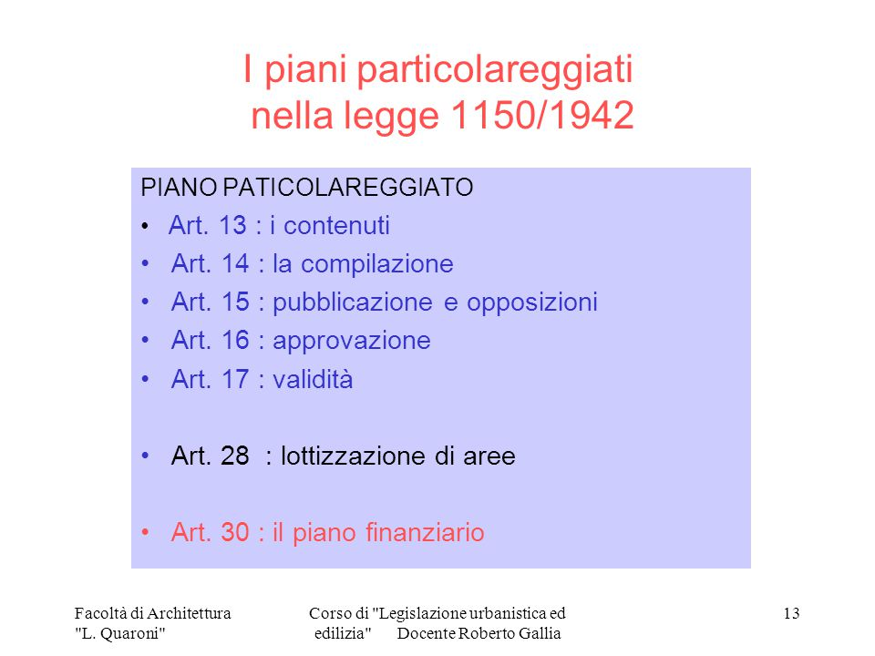 I piani particolareggiati nella legge 1150/1942