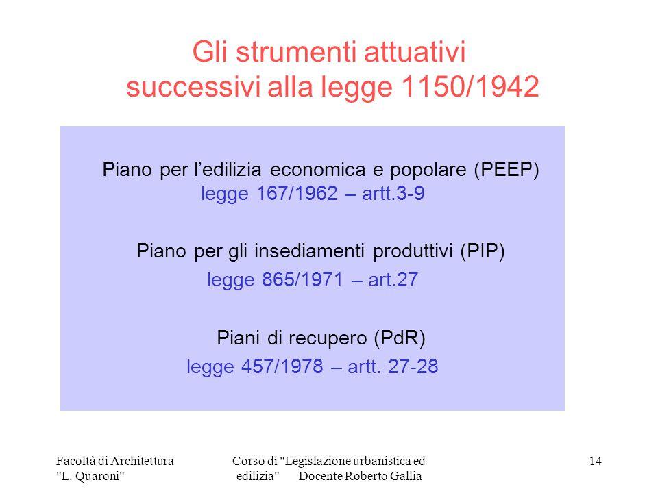 Gli strumenti attuativi successivi alla legge 1150/1942
