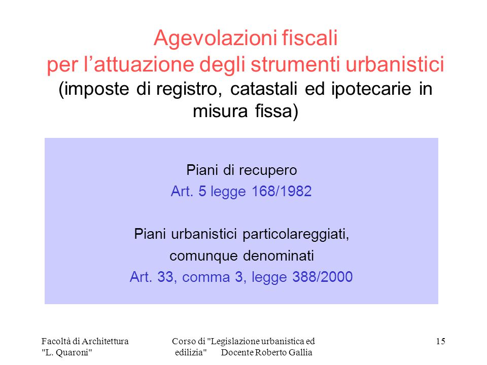 Norme e procedure per la gestione del territorio ppt for Piani di suite in legge