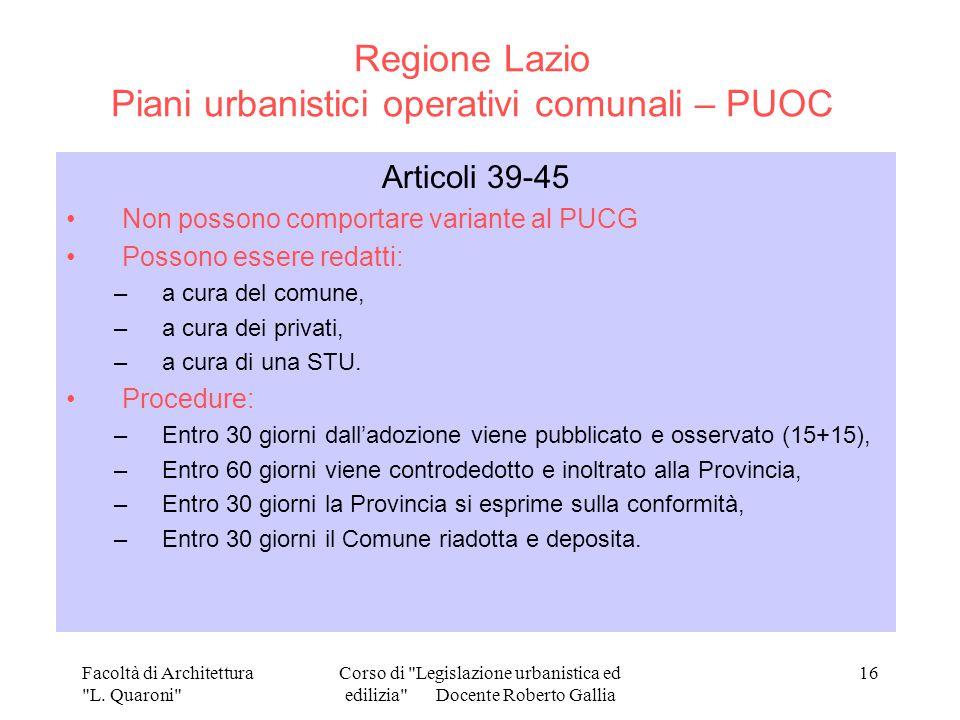 Regione Lazio Piani urbanistici operativi comunali – PUOC