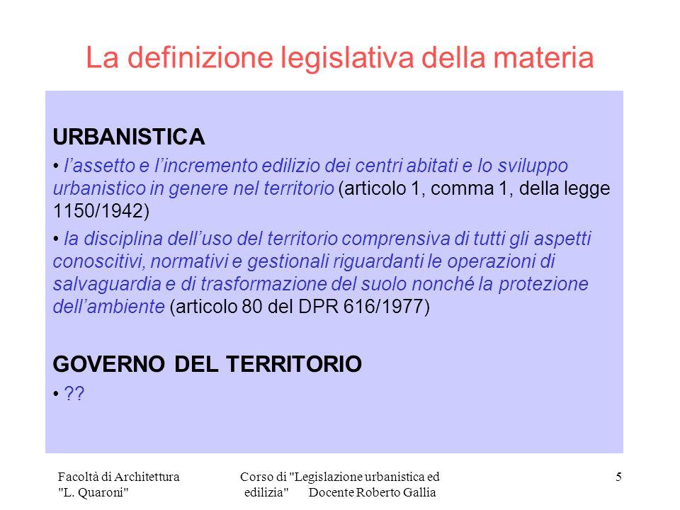La definizione legislativa della materia