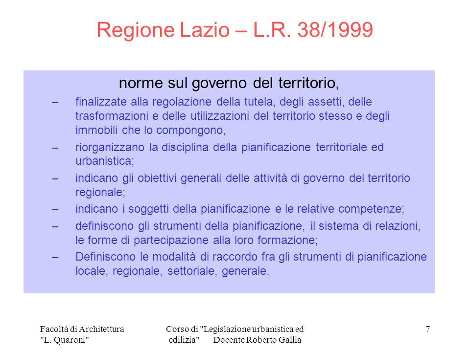 Regione Lazio – L.R. 38/1999 norme sul governo del territorio,