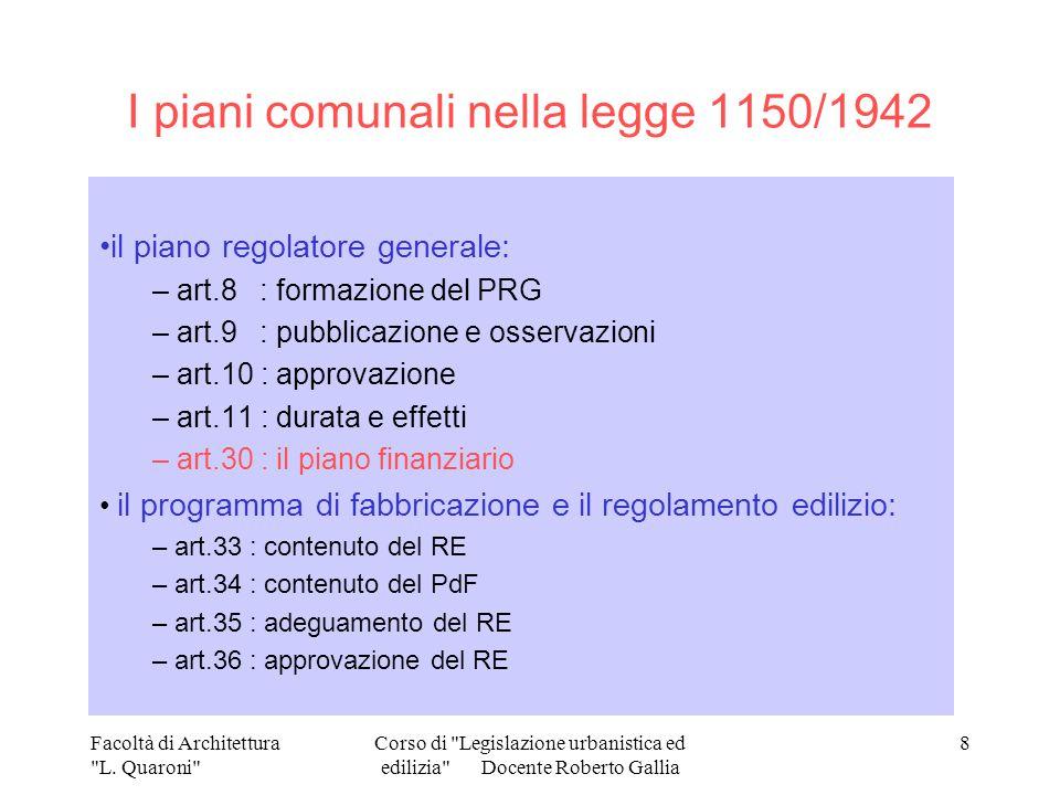I piani comunali nella legge 1150/1942