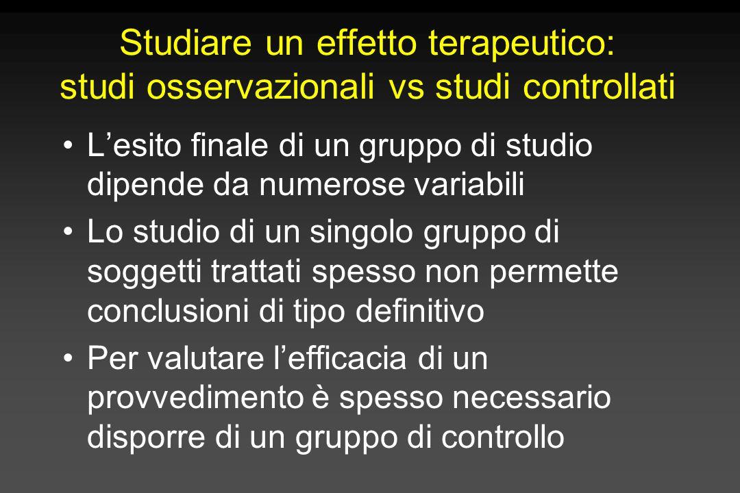 Studiare un effetto terapeutico: studi osservazionali vs studi controllati