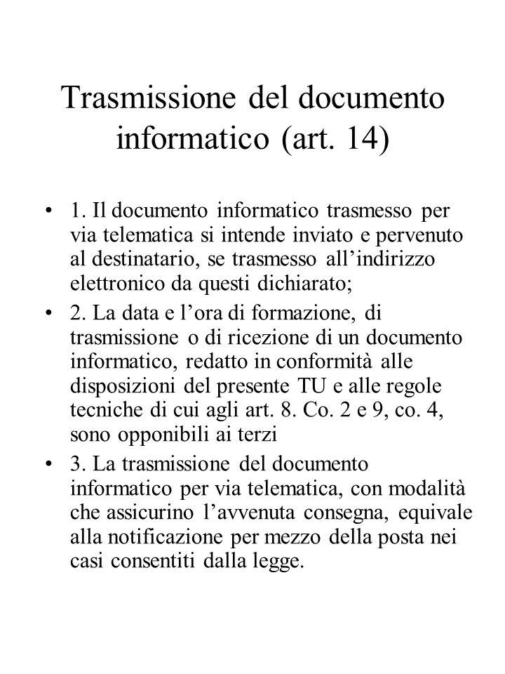 Trasmissione del documento informatico (art. 14)