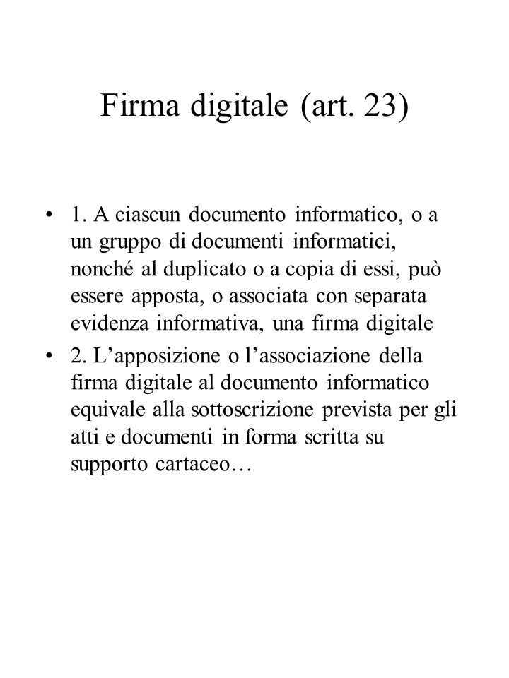 Firma digitale (art. 23)