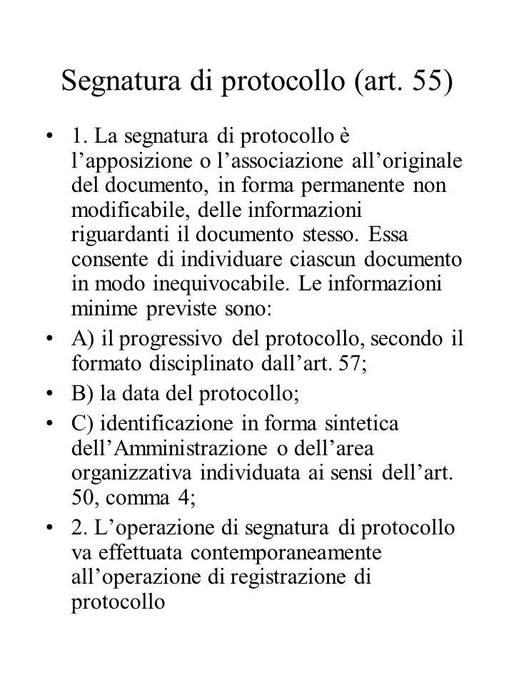 Segnatura di protocollo (art. 55)