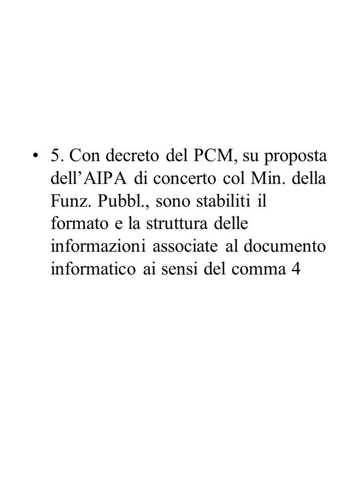 5. Con decreto del PCM, su proposta dell'AIPA di concerto col Min