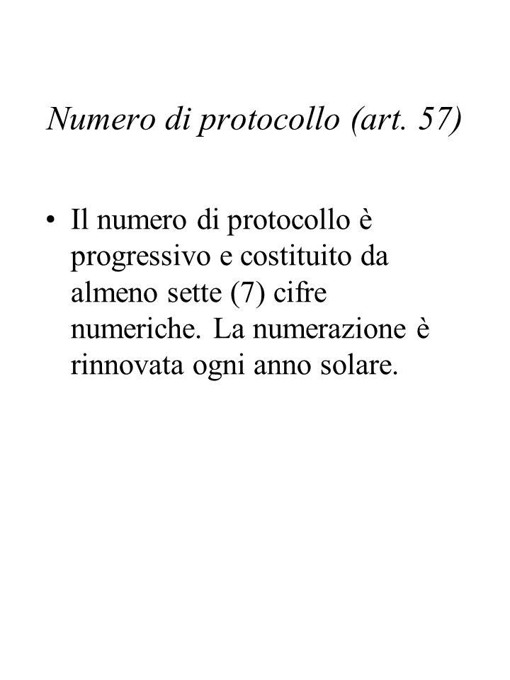 Numero di protocollo (art. 57)
