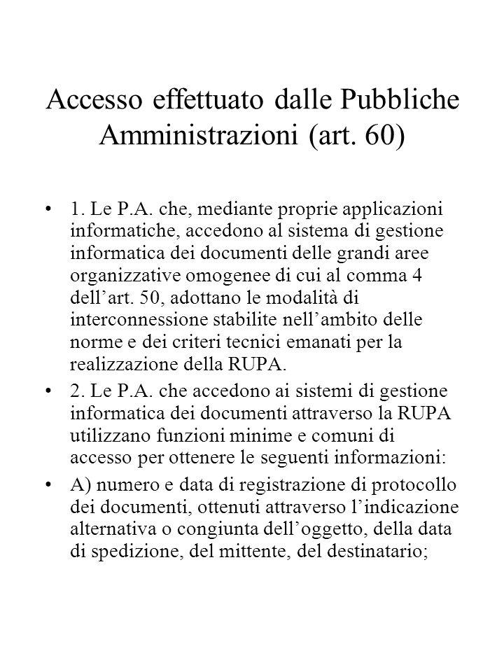 Accesso effettuato dalle Pubbliche Amministrazioni (art. 60)