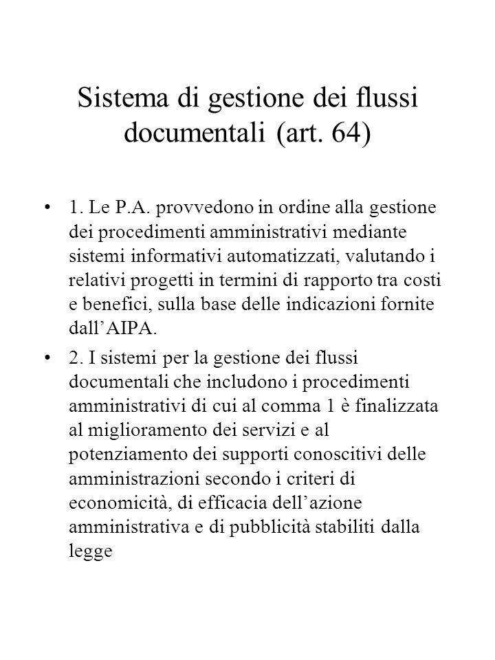 Sistema di gestione dei flussi documentali (art. 64)