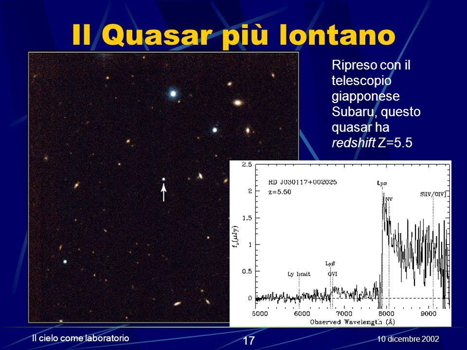 Il Quasar più lontano Ripreso con il telescopio giapponese Subaru, questo quasar ha redshift Z=5.5.