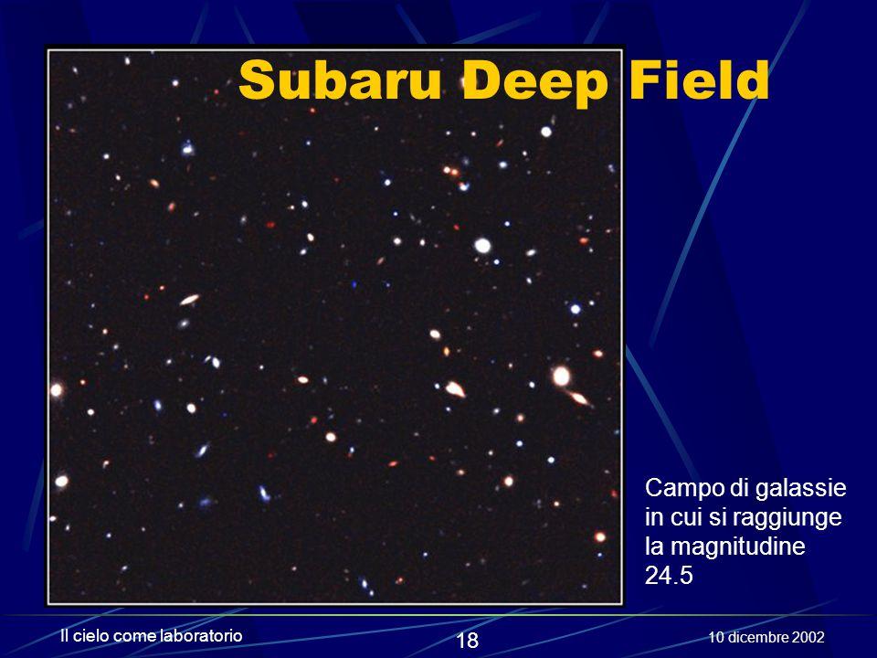 Subaru Deep Field Campo di galassie in cui si raggiunge la magnitudine 24.5. Il cielo come laboratorio.
