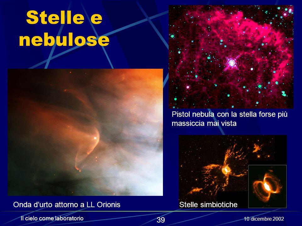 Stelle e nebulose Pistol nebula con la stella forse più massiccia mai vista. Onda d'urto attorno a LL Orionis.