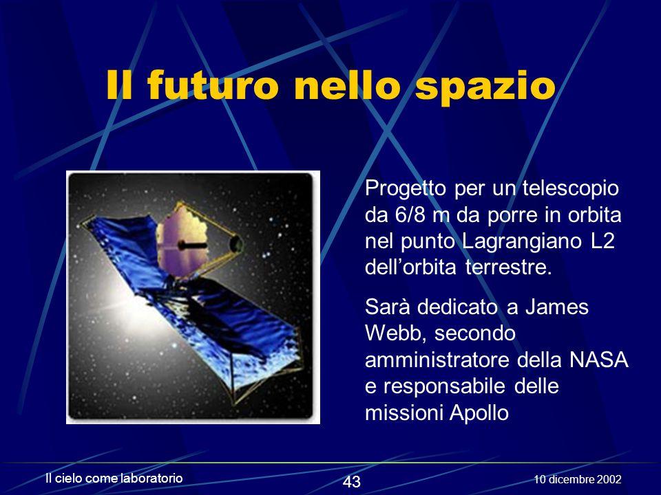 Il futuro nello spazio Progetto per un telescopio da 6/8 m da porre in orbita nel punto Lagrangiano L2 dell'orbita terrestre.